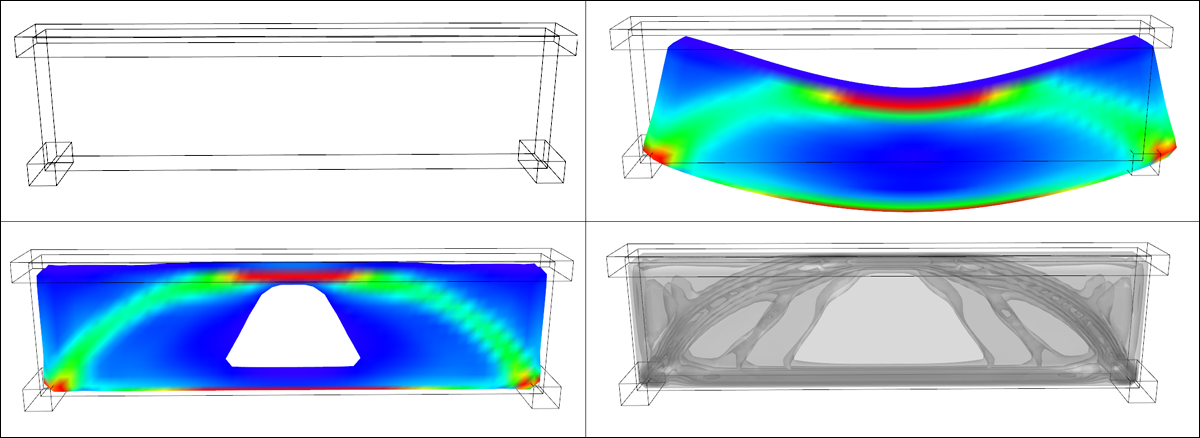 Figure 5: [top left]: Setup of boundary conditions for simple bridge [main volume + supports at the two lower corners and distributed load at the top]. [top right]: Deflected shape of solid material after load application. [bottom images]: stress distribution and topology optimization contours. Inner contours represent regions where stronger material is required.