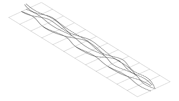 STEP 3:  Because some of the interpolated lines in the curve network do not run the full length of the nave, but instead branch off of the two main lines, the topology of the curves would yeild an unloftable surface. However, the software can solve the intersection between a plane and a curve which results in a point. A line can be created between each new intersection point to form the outlines of each rib.