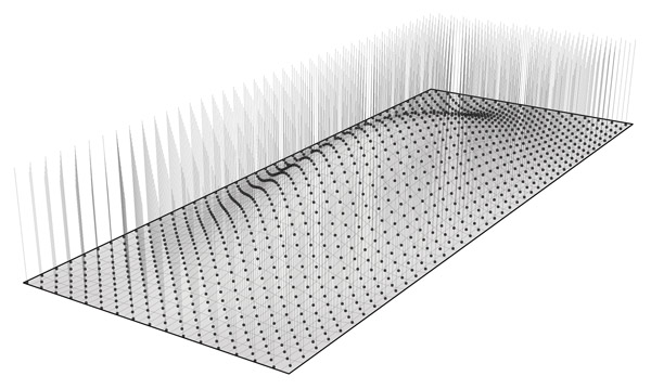 Step 4:  The definition uses a surface-curve intersection event to create a new point at the location where the vertical lines created in Step 3 intersect the surface. A new line is then created from the new intersection points and the original point grid created in Step 2. Click image for more detail.