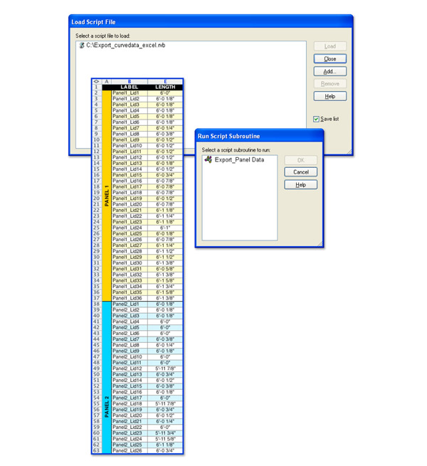 "Step 6:  Once all of the text tags have been baked into the scene, use the ""Load Script"" command and locate the rhinoscript called ""Export_curvedata_excel.rvb"". The use the ""Run Script"" command and select the loaded rhinoscript from the menu. Follow the on screen directions in the command prompt and select all of the text tags. Excel will automatically open, and a new file will be created with the panel labels and lengths organized for easy access. Within Excel you can convert the length stored from Rhino (rounded to the nearest one thousandth) into a more managable dimension using feet and inches and a specified tolerance. Click image for more detail."