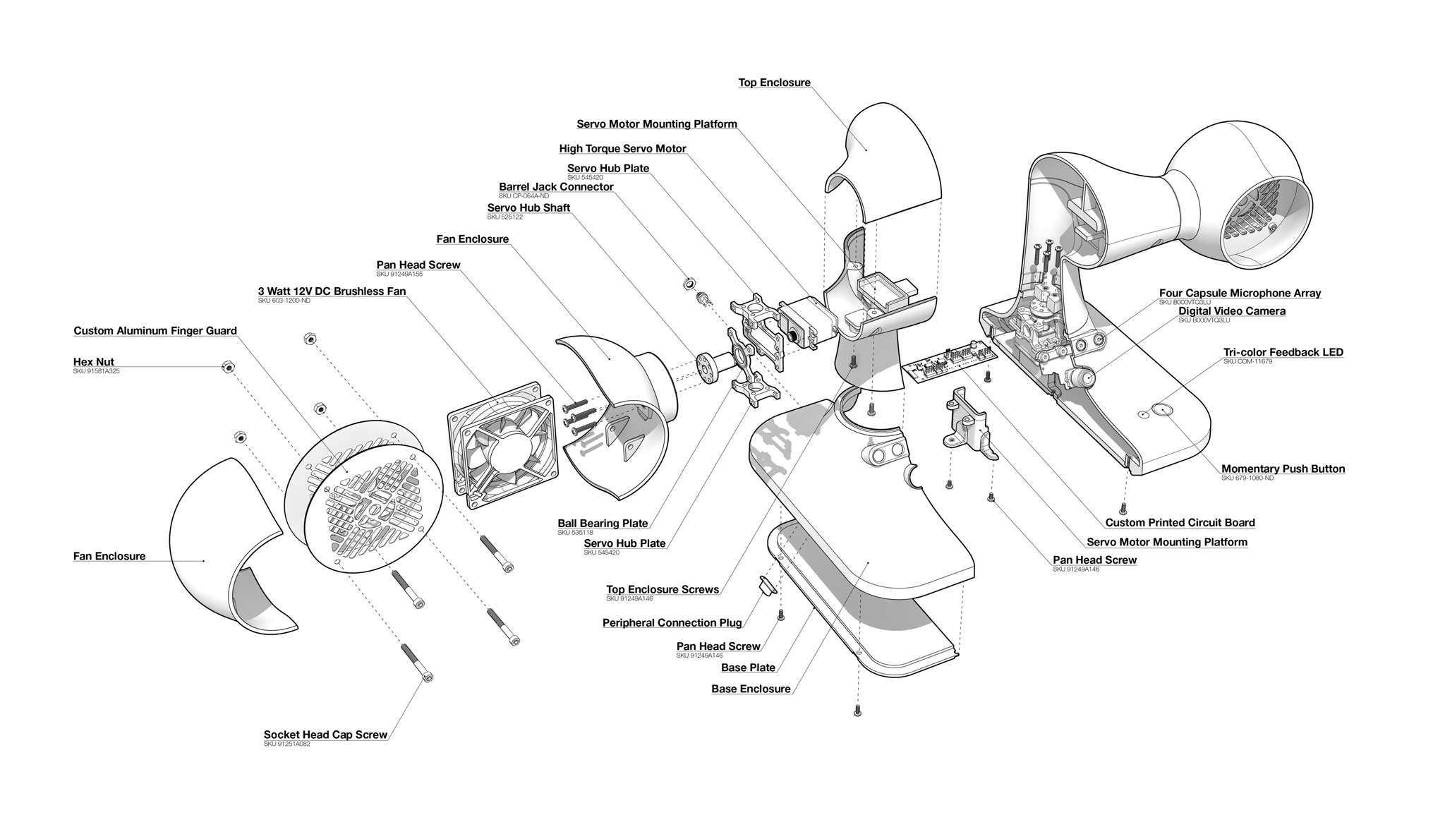 An exploded axon drawing of the Smart Fan.