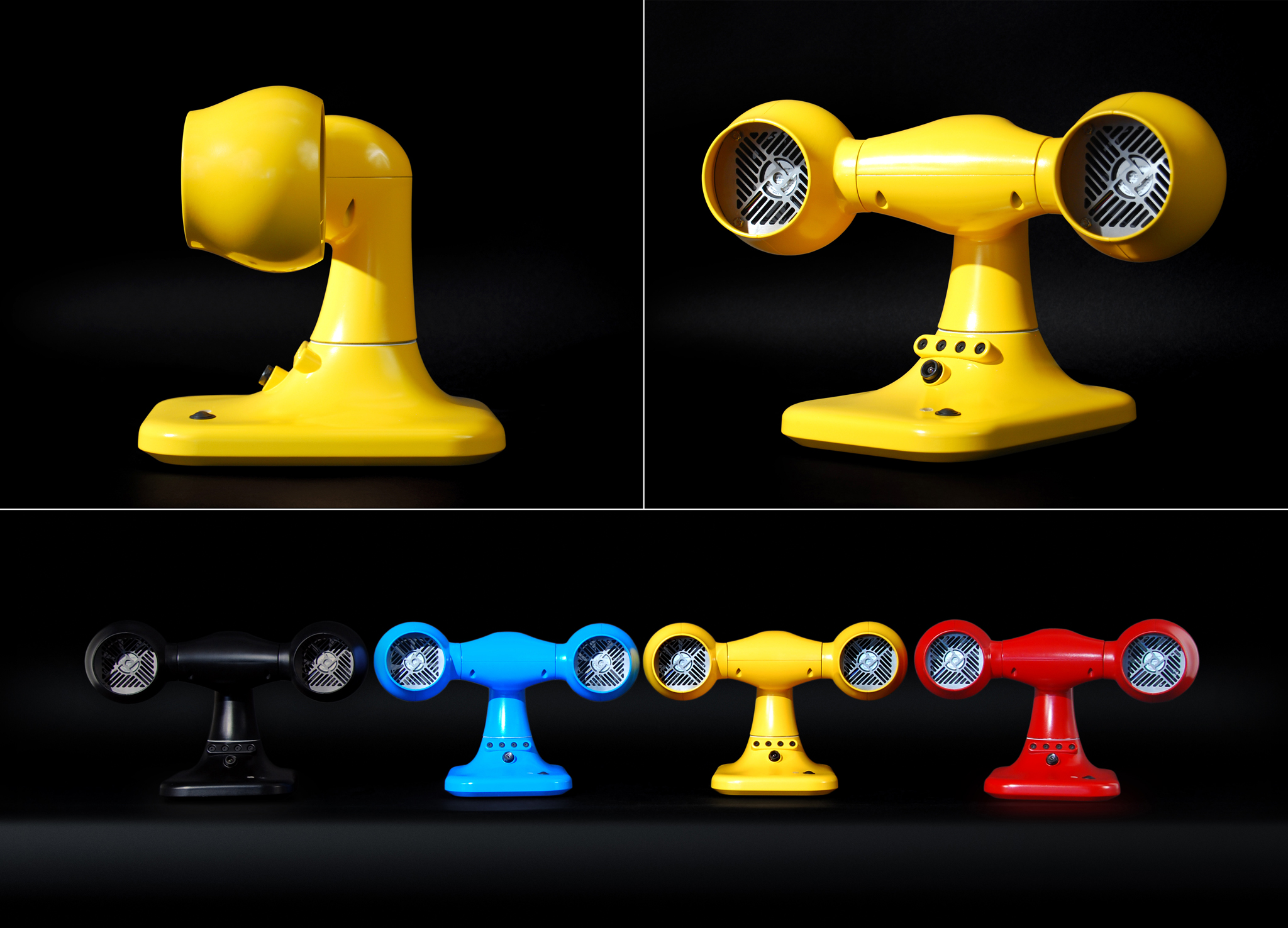 Four working prototypes have been built (Black, Blue, Yellow, and Red).