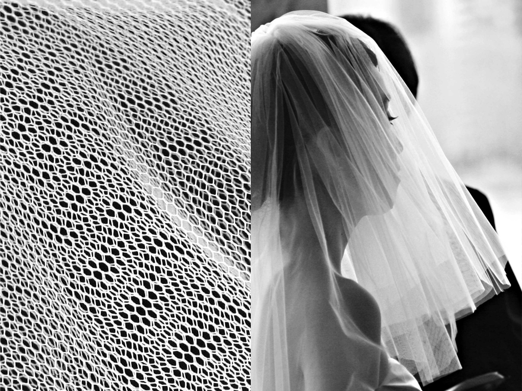 Tulle is lightweight net-like fabric traditionally used in wedding veils and other ornamental garments.