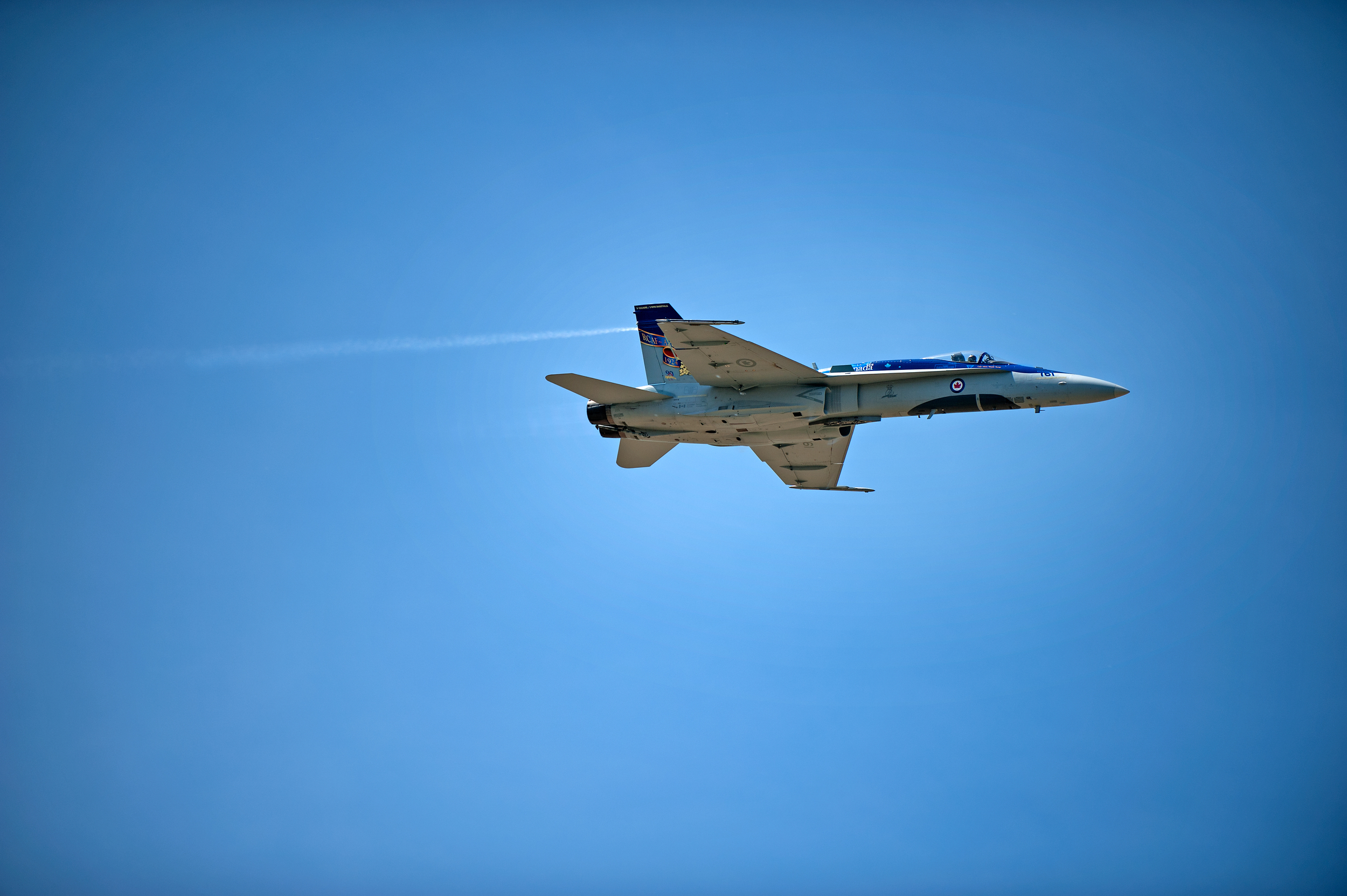 F-18 does a high speed pass in front of the crowd, nice and low.
