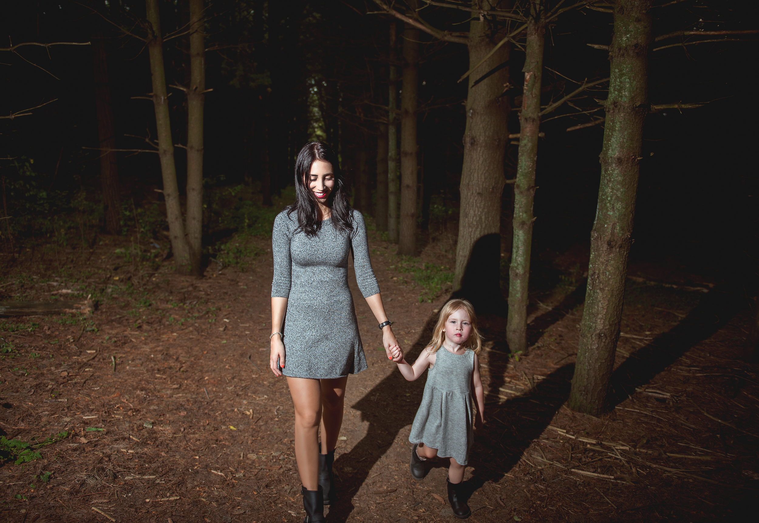 These trails were a little dark and kind of creepy, so we decided to have some fun with it and do some hard lighting to give that dark, moody, shadow feel to the image.