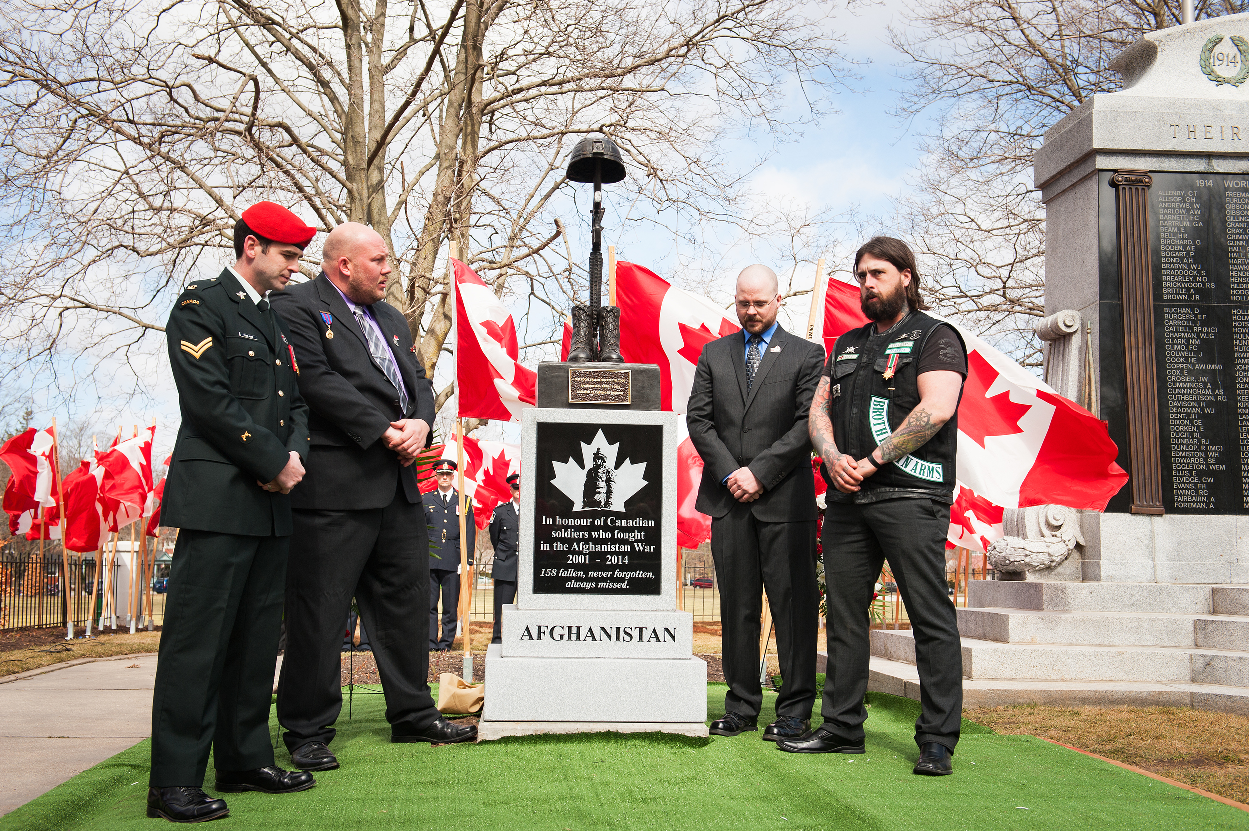 Evening Of Honour Members: Kevin DeClark, Jeremy Mac Knott (JMAC) and Stephen Smith Standing with Matt, who was in Afghanistan with Pte.Tyler W. Todd.