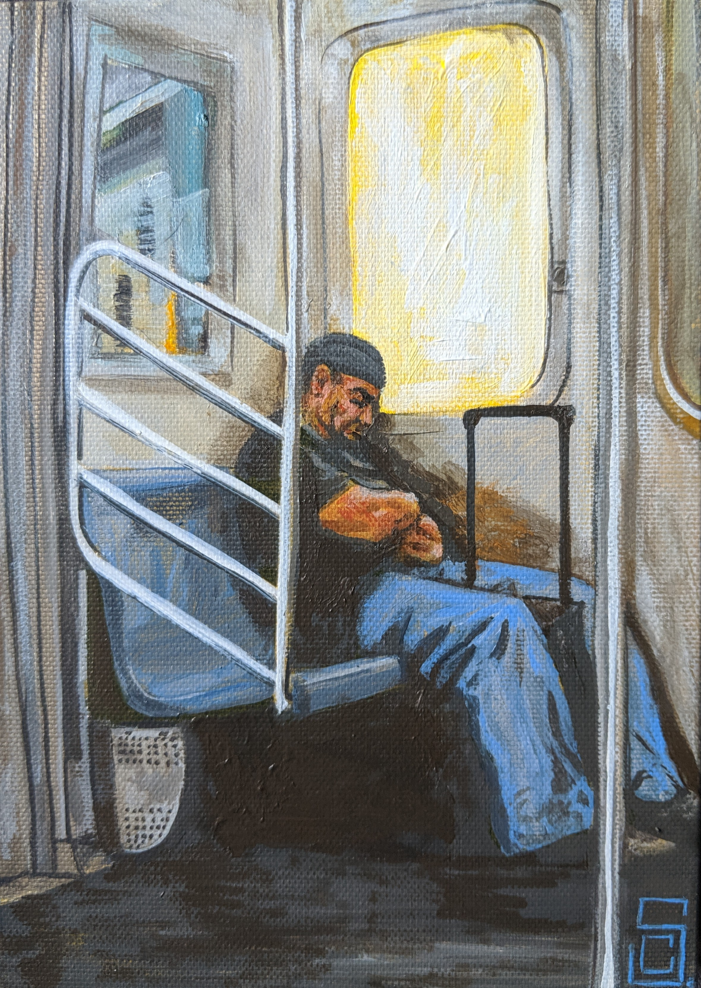 """""""Sleeping but ready"""" 5"""" x 7"""" Acrylic on Canvas"""