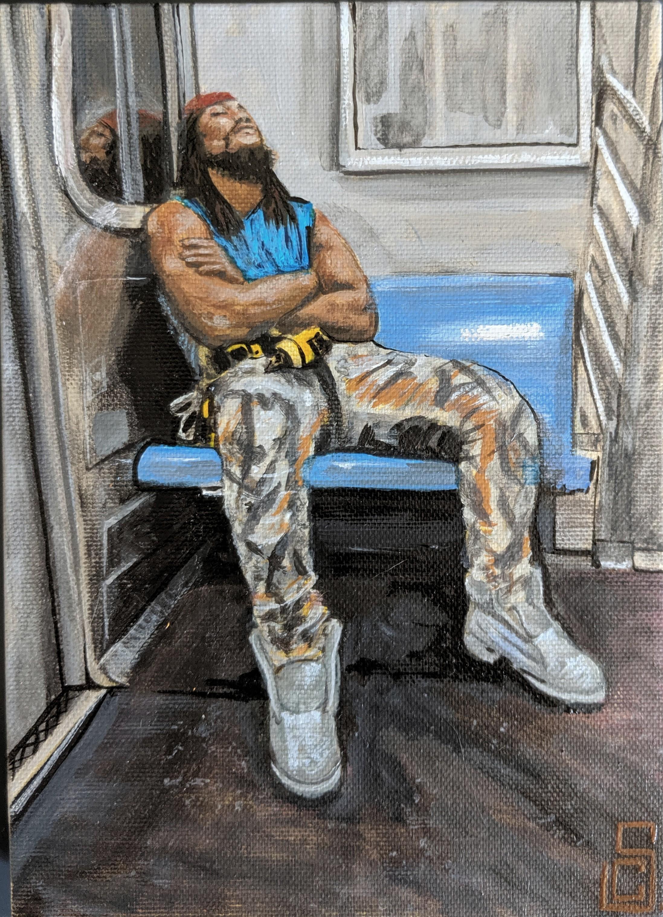 """""""Sleep the sleep of the just"""" 5"""" x 7"""" Acrylic on Canvas"""