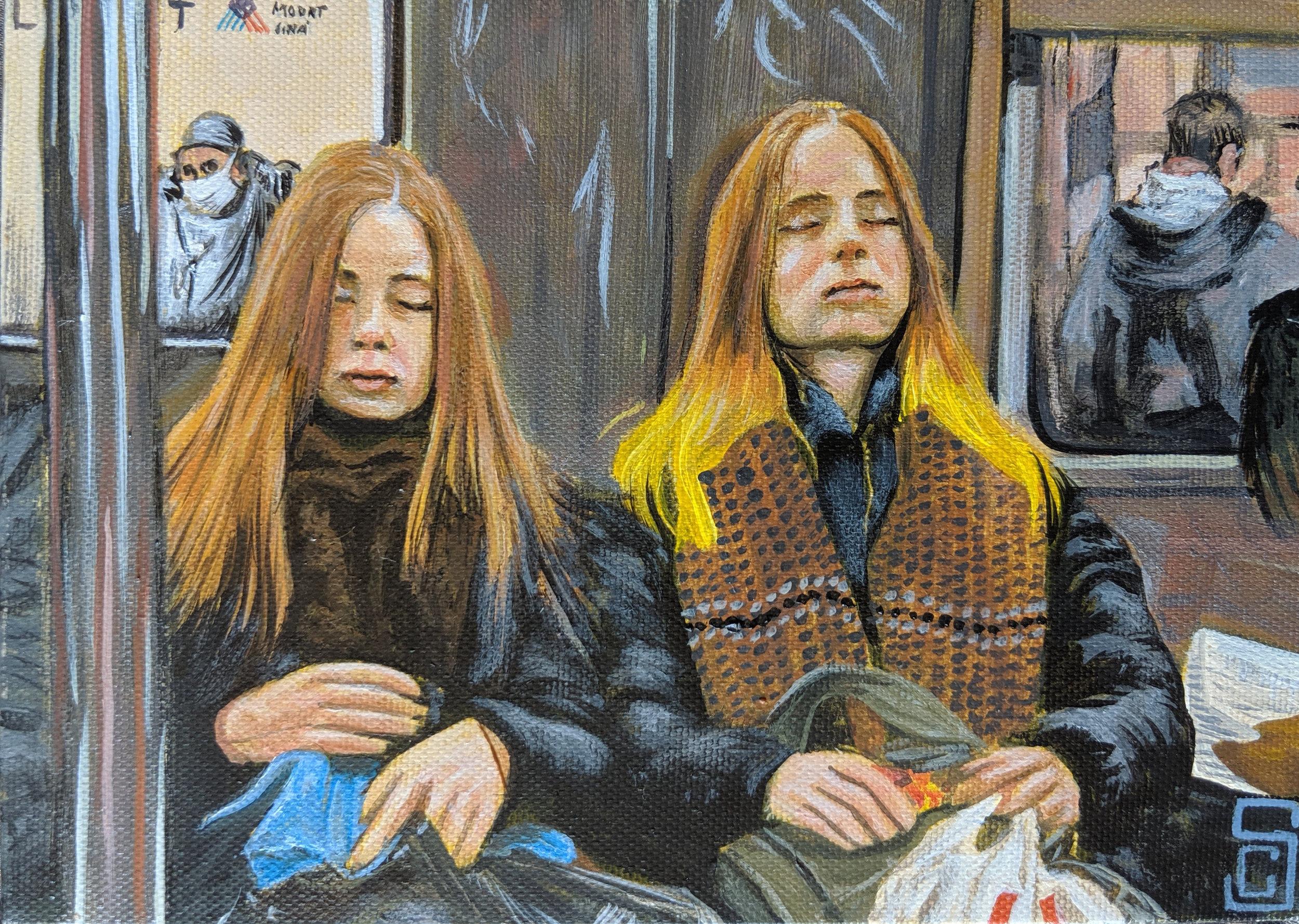 """The twins"" 5"" x 7"" Acrylic on Canvas"