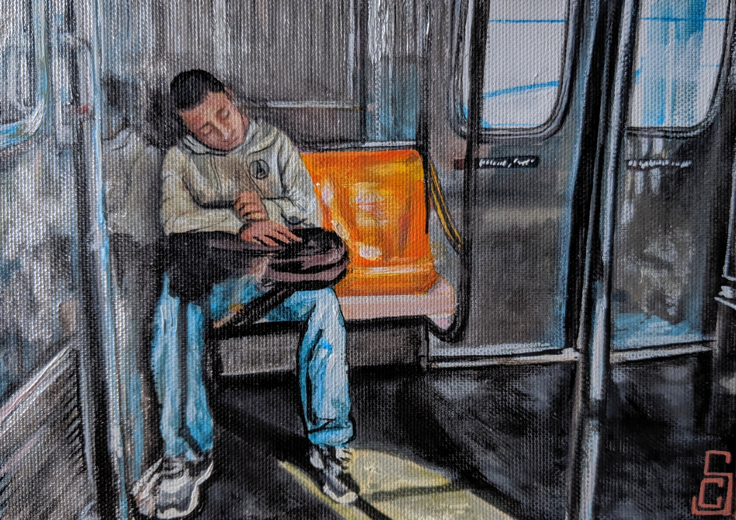 """""""Exhausted young man"""" 5"""" x 7"""" Acrylic on canvas"""