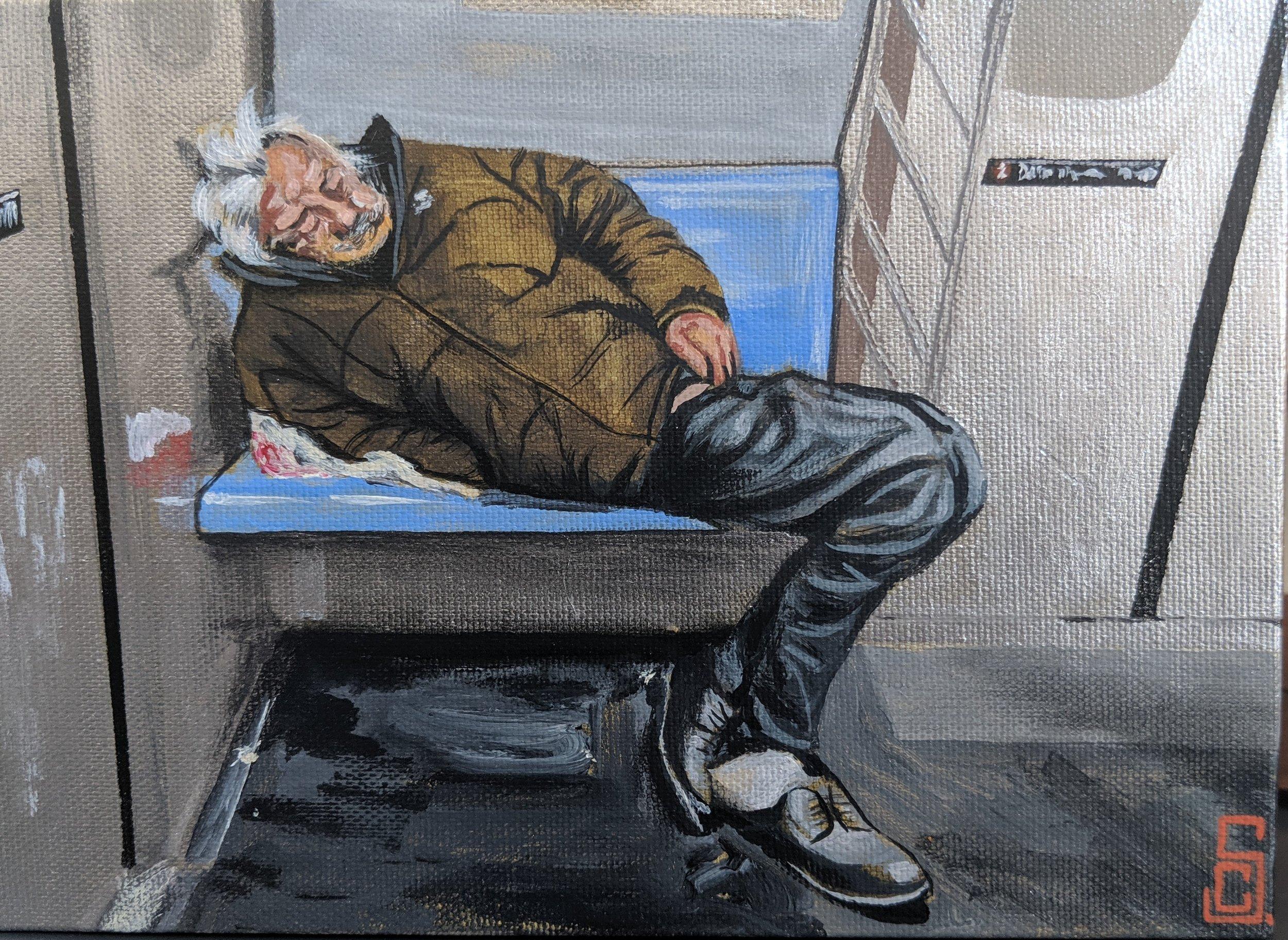 """Homeless man inside the subway"" 5"" x 7"" Acrylic on canvas"