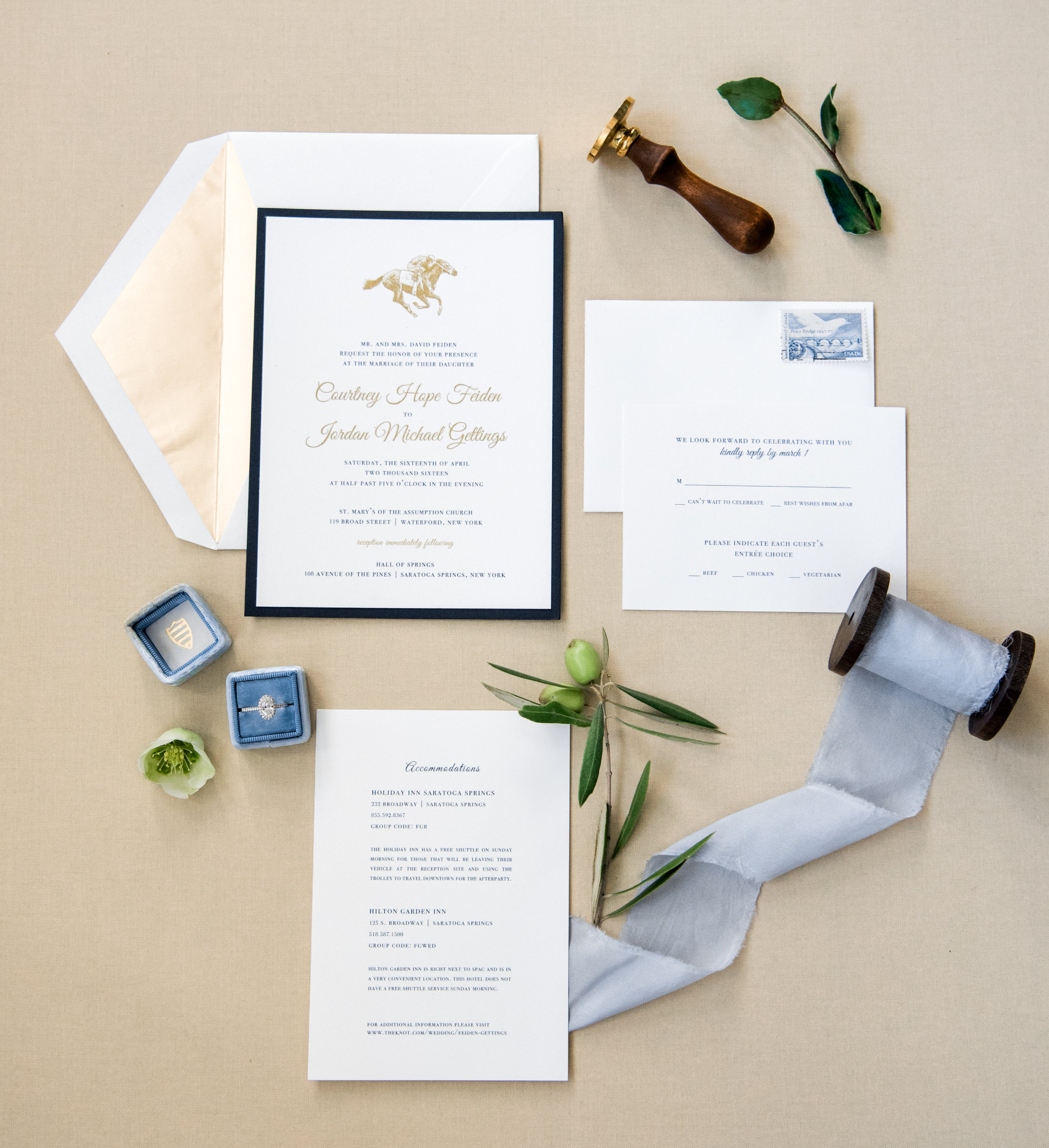 Courtney and Jordan's wedding invitation suite
