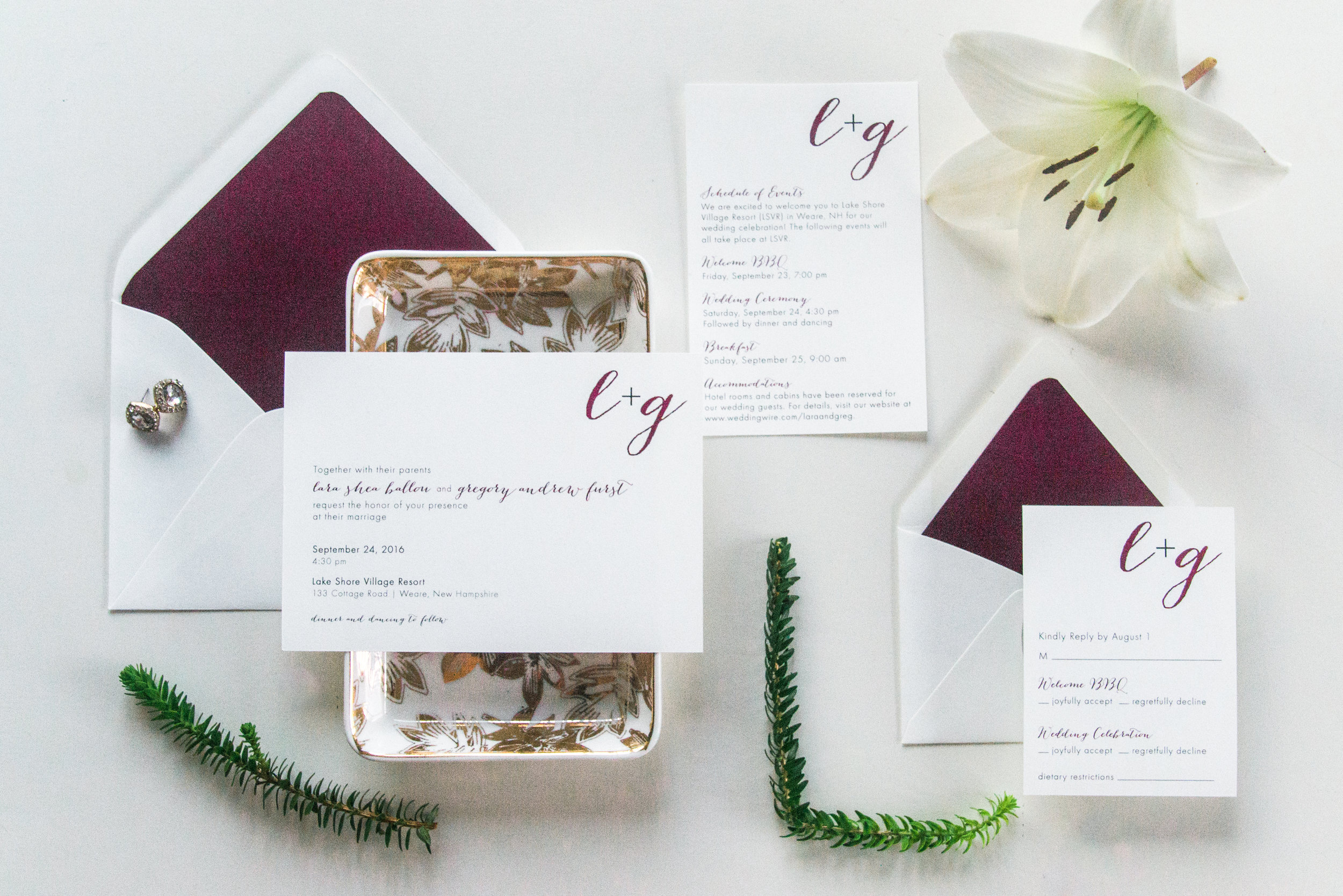 Lara + Greg's wedding invitation suite