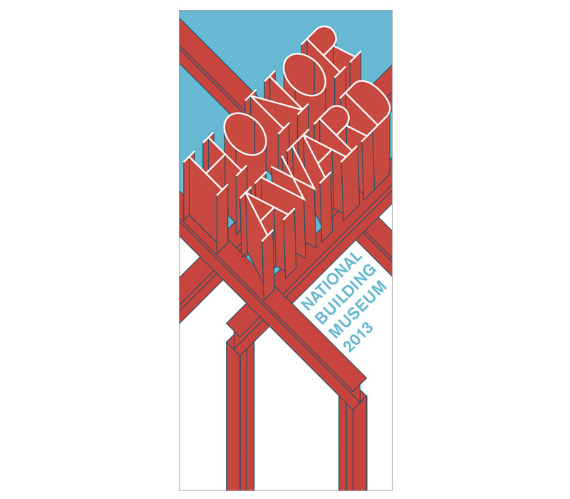 The 2013 Honor Award recognized  Turner Construction Company, so I proposed an invitation based on  I-beams and steel frame construction. Ultimately this design was not  selected for the final invitation, but I enjoyed the opportunity to get  creative with lettering.