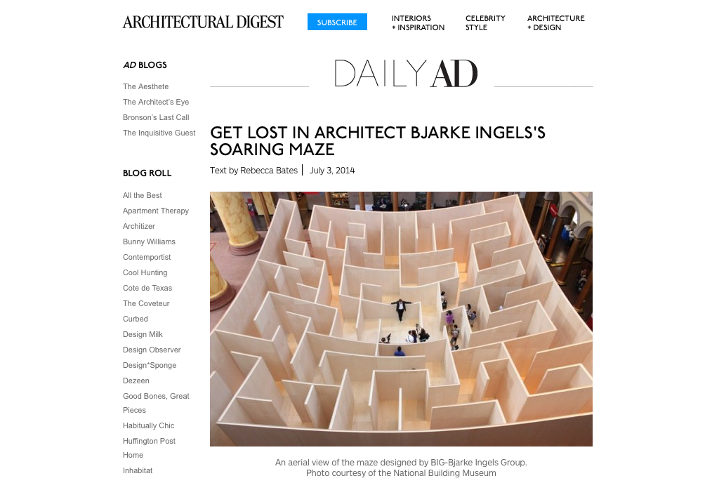 Architectural Digest  picked up one of my photos for their feature article about the maze.
