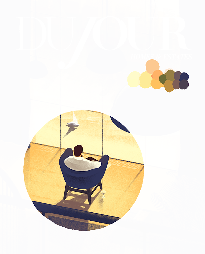Working on a cover illustration for DUJOUR.