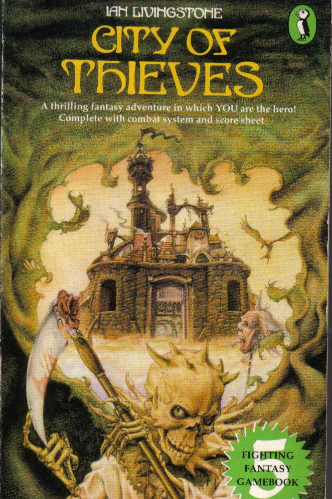 city of thieves  - part of the fighting fantasy choose-your-own-adventure books. i loved them all, but this was my favourite one and is still on my bookshelf.