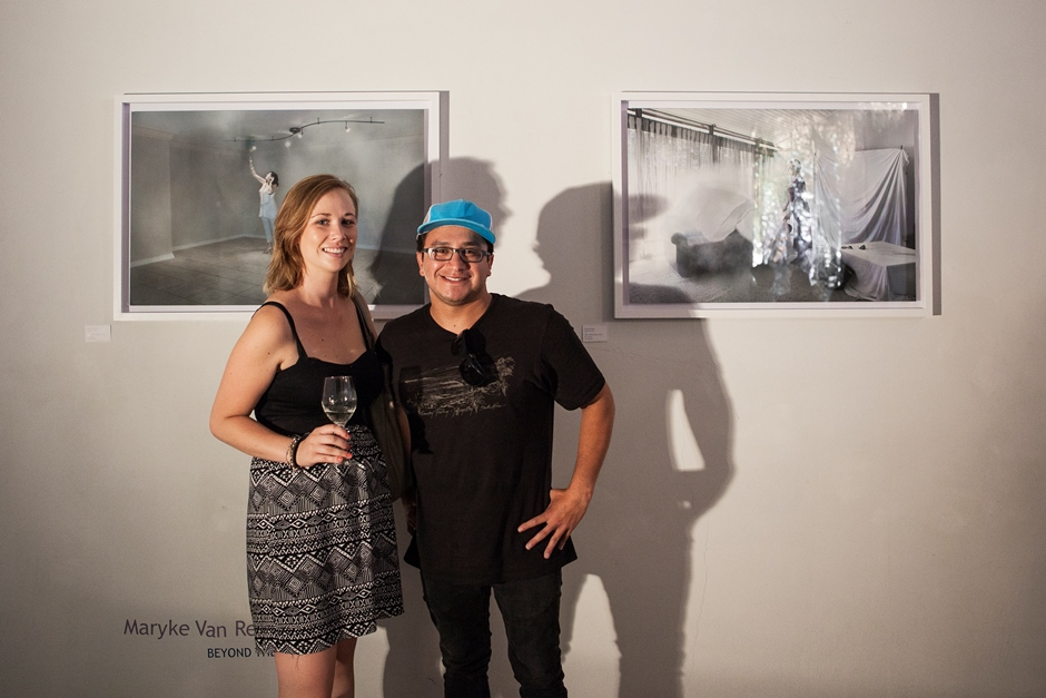 Maryke Van Rensburg and Mark Antonello at the Visionaries launch with the selected work 'Beyond the Estate'