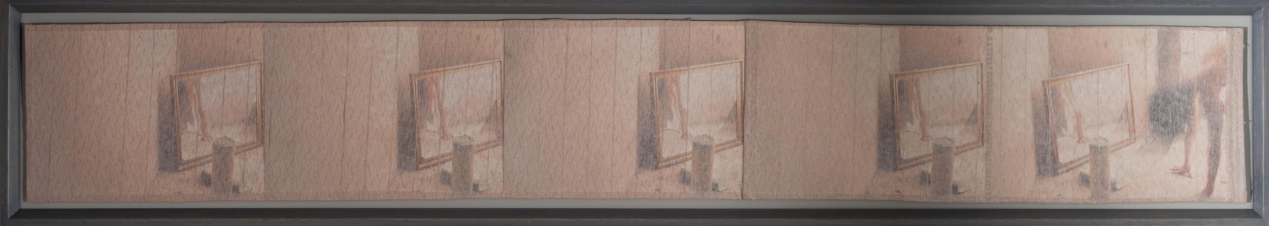 Dissolving | 8x10 prints, microcpore, thread | 22 x 133cm