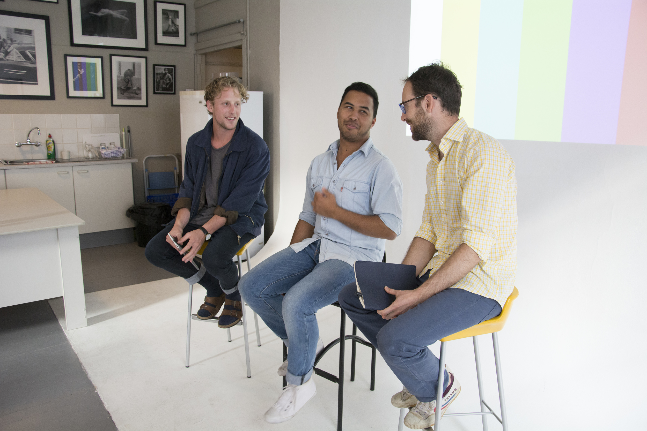 Jake Singer (left), Rashiq Fatar and Gaelen Pinnock ready for good conversation at Gallery F
