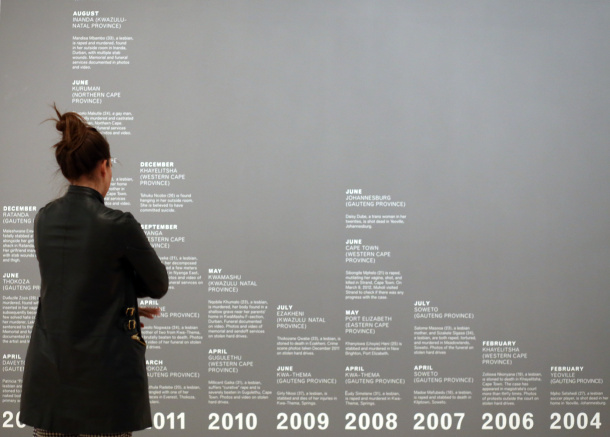 Hate crime timelines on the walls of Brooklyn Museum. Photos by Terra Dick (2015)