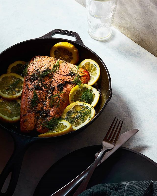 Hard light, white surfaces, dark cookware. Difficult combo. . . . F11.  One light. Lots of flagging. . . . #lemonsalmon #salmon #foodphotography #hardlightfood #foodlighting #igfood #foodgram #f52grams #foodpic #buzzfeast #lifeandthyme #food52 #foodandwine #bareaders #tastemade #vscocook #eeeeeats #foodart #foodgawker #foodvsco #gloobyfood #yahoofood #huffposttaste
