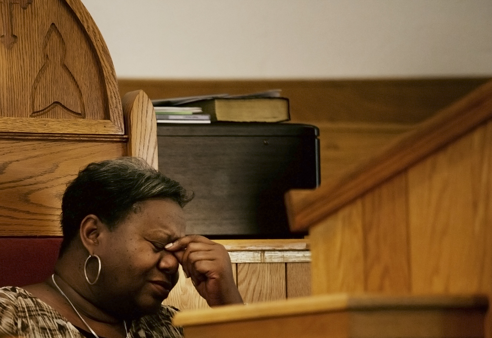 Reverend Margaret Redmond becomes emotional before her sermon Sunday, July 14 2013 at First AME Church.