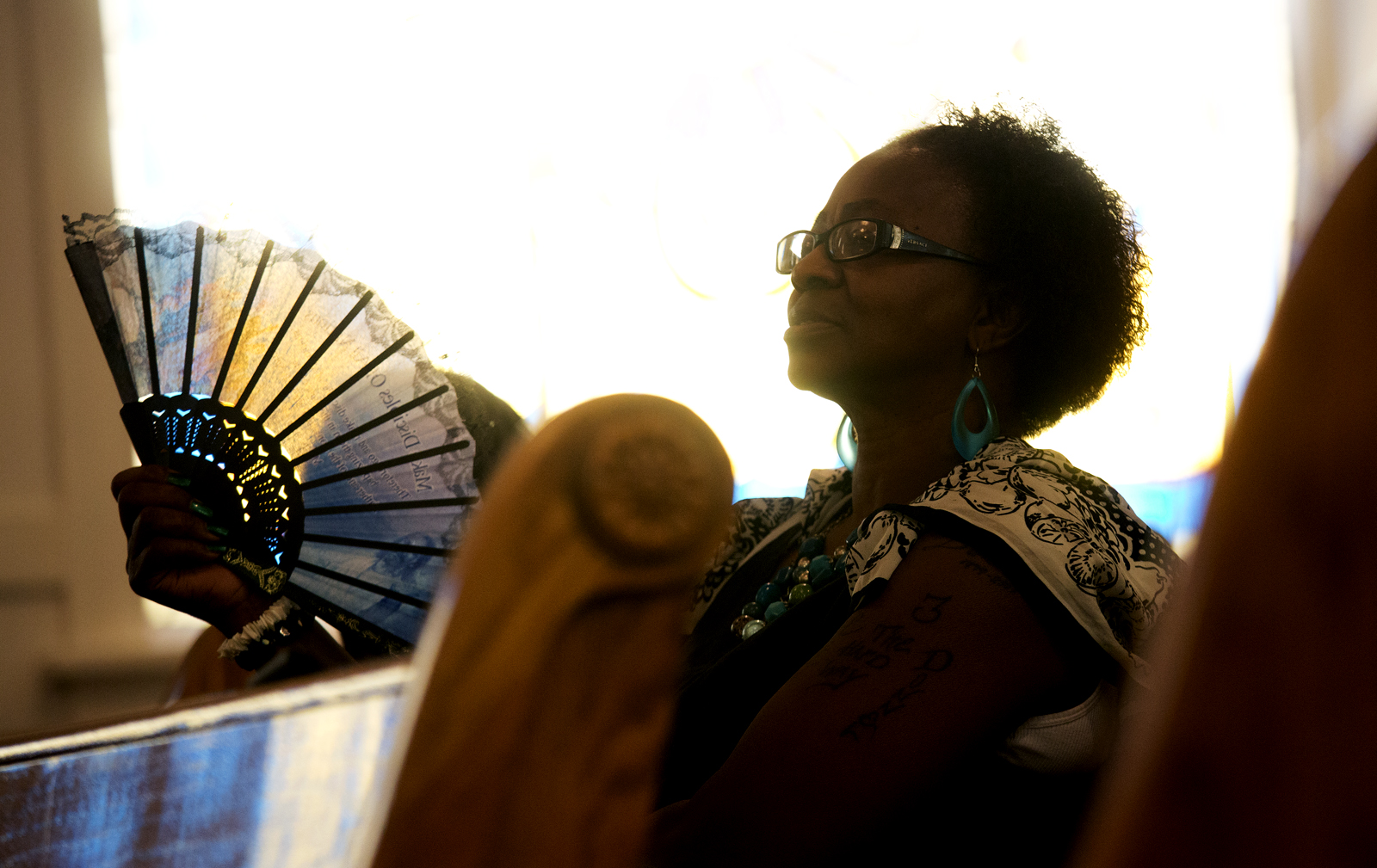 Clarice Anderson listens to Reverend Margaret Redmond sermon Sunday, July 14 2013 at the First AME Church.