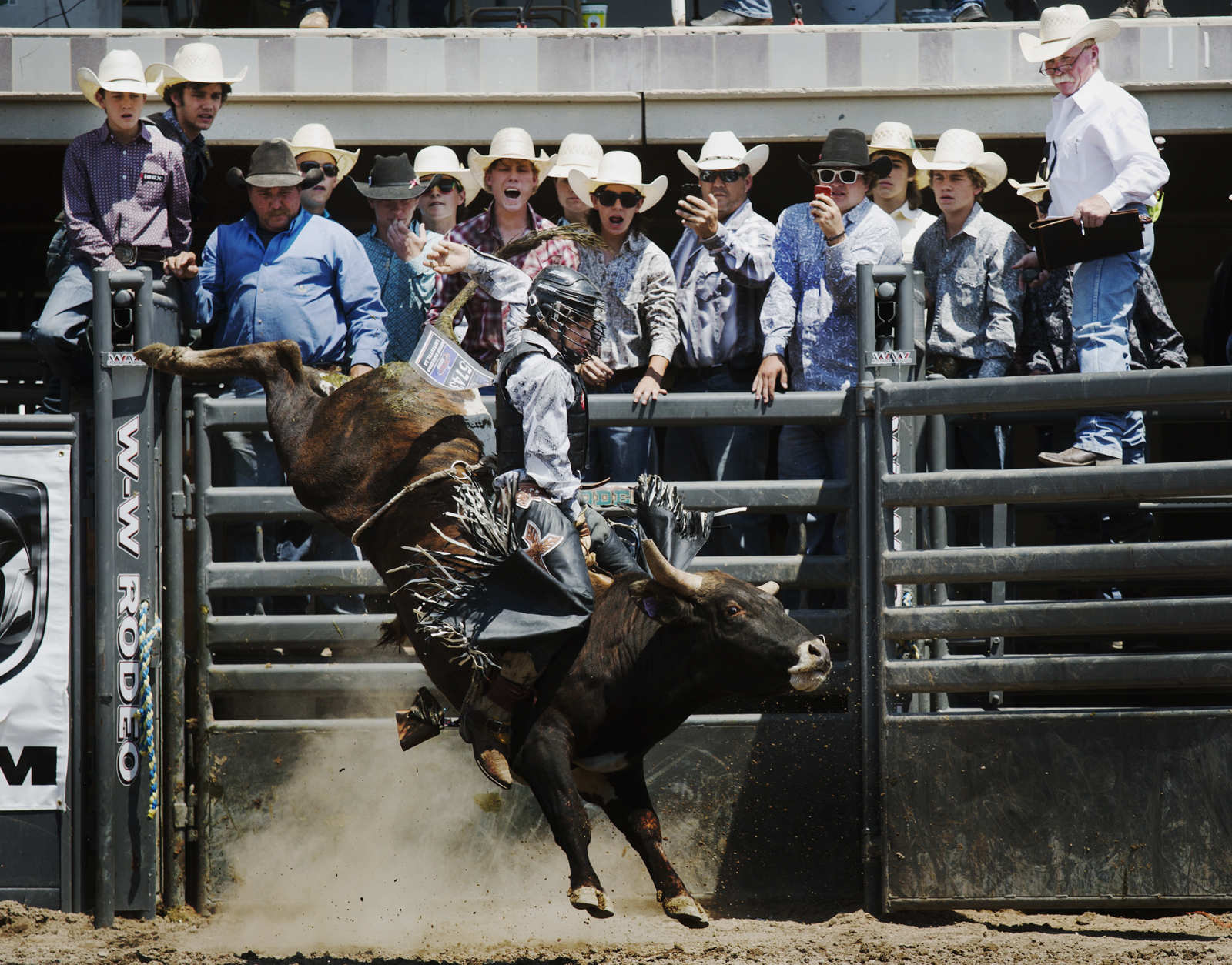 Spectators watch Austin Canezaro's run during the Junior Bull Riding competition Monday, July 22 2013 at the Little Britches Final Rodeo at the State Fairgrounds. Canezaro went on to take fifth place in the final.