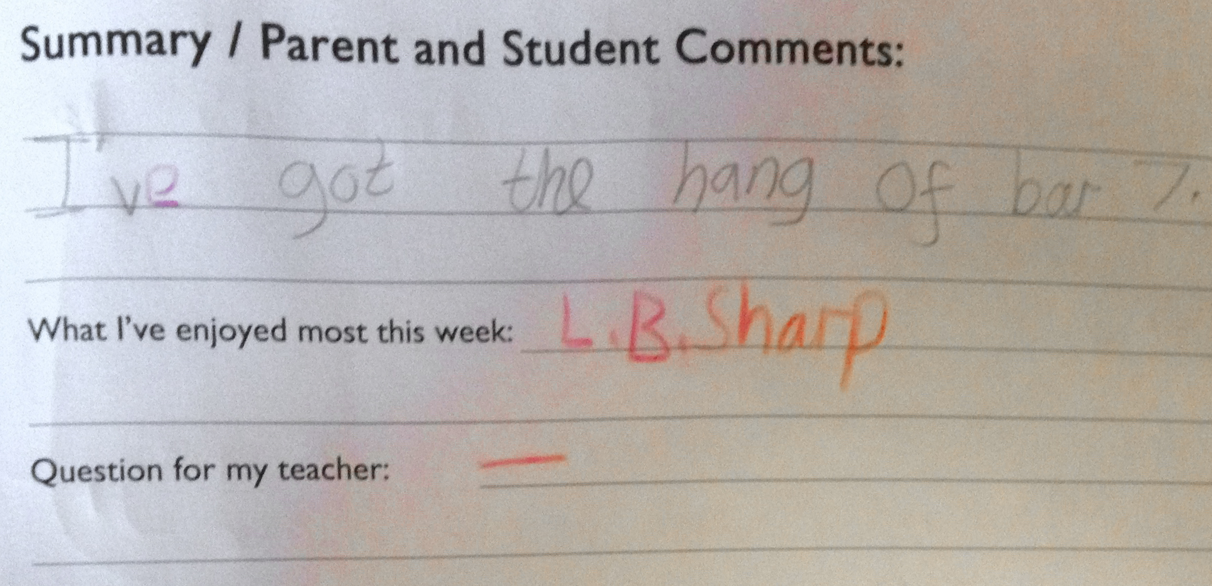 'L.B. Sharp' is an abbreviation of 'Let's be sharp', the name of a piece of music. I encourage abbreviation so younger children can write quickly and the whole task doesn't need to become a chore.