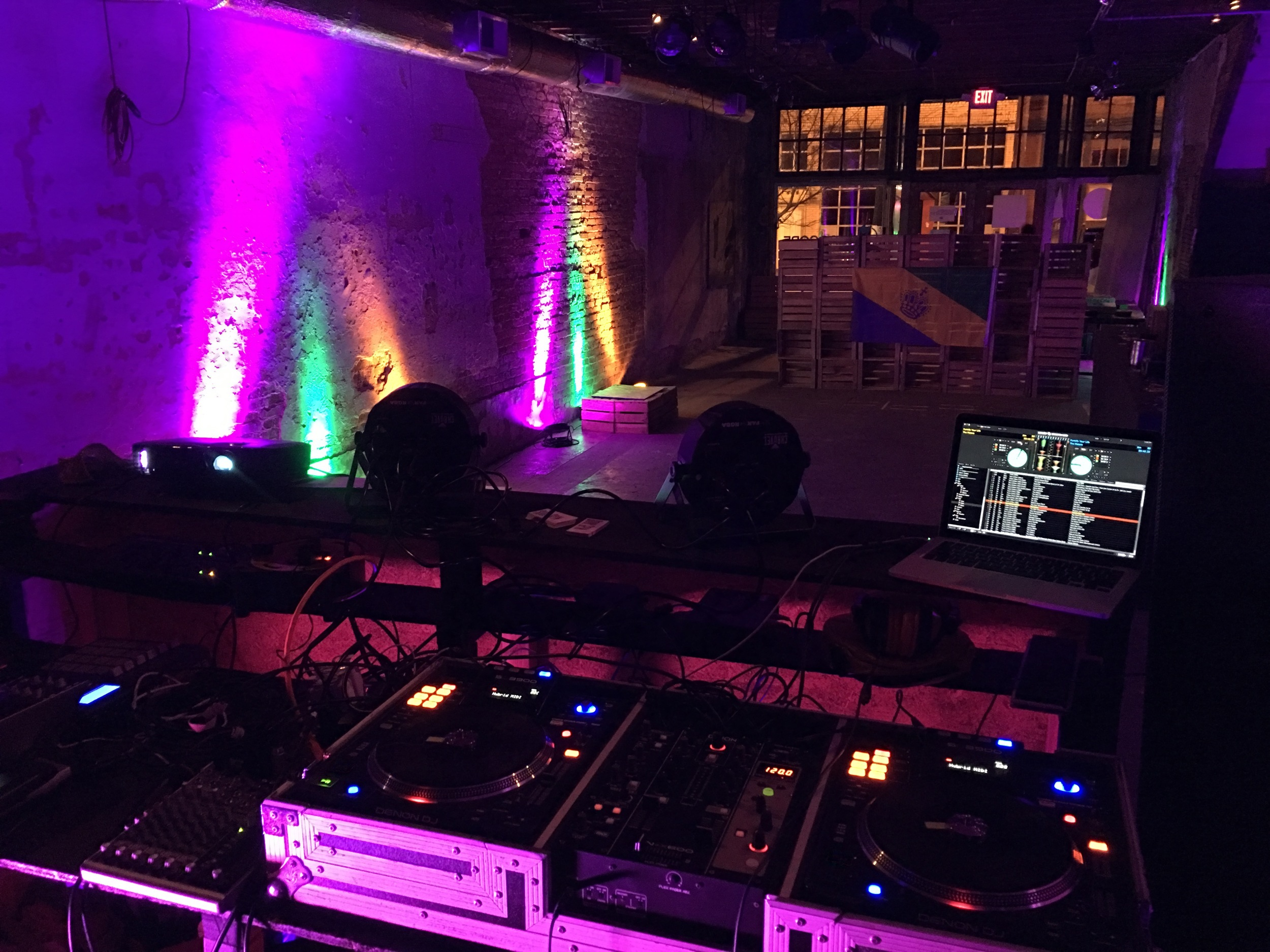 Setup from the DJ/Visuals booth
