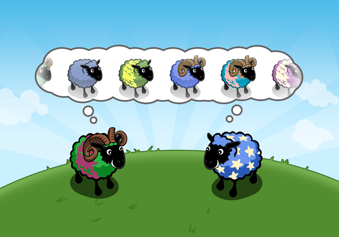 "The ""Conga Line"" solution: Momma and Papa sheep dream about their potential offspring. The thought bubble displayed an infinite number of simulated results."