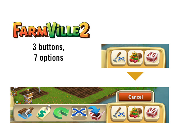 By having interactions grounded on the board, FarmVille 2 still only has three button hiding seven options.