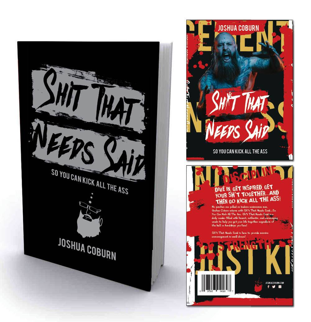 "The second pressing of Joshua Coburn's new book, shown with the limited edition slip cover & silver inlay cover, titled ""Shit That Needs Said...so you can kick all the ass"" available and in stock now!"