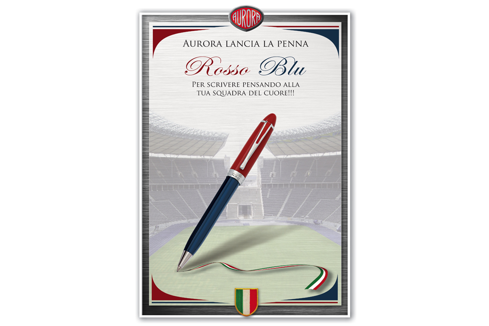 Advertisement for the Red & Blue Pen     Goal:  To appeal to multi-national futból fans throughout Europe.    Medium:  Print   My role:  graphic design   Claim to fame:  The president of Aurora Pens let me know that he received immediate pen orders upon these posters going up in store front windows in Italy.