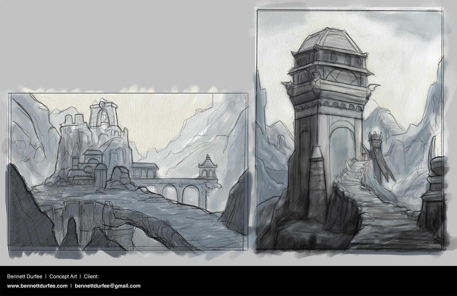 Environment Comp Sketches Mountain Fortress Bennett