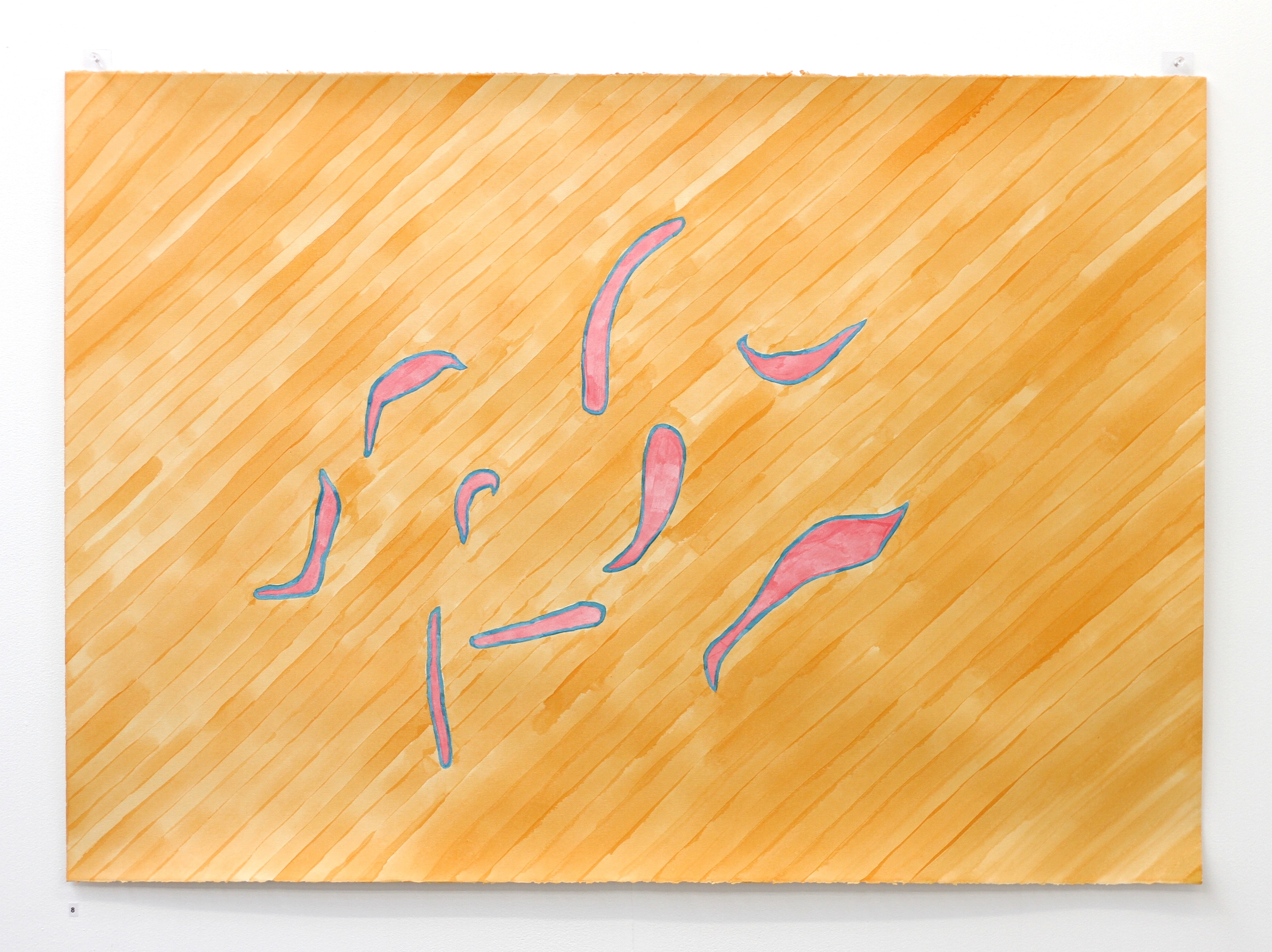 Ān fenjān hāye chāī ke bā ham nanooshidim / Those cups of tea we didn't share II - Léuli Eshraghi, acrylic on Fabriano paper, 100 x 71cm, 2014