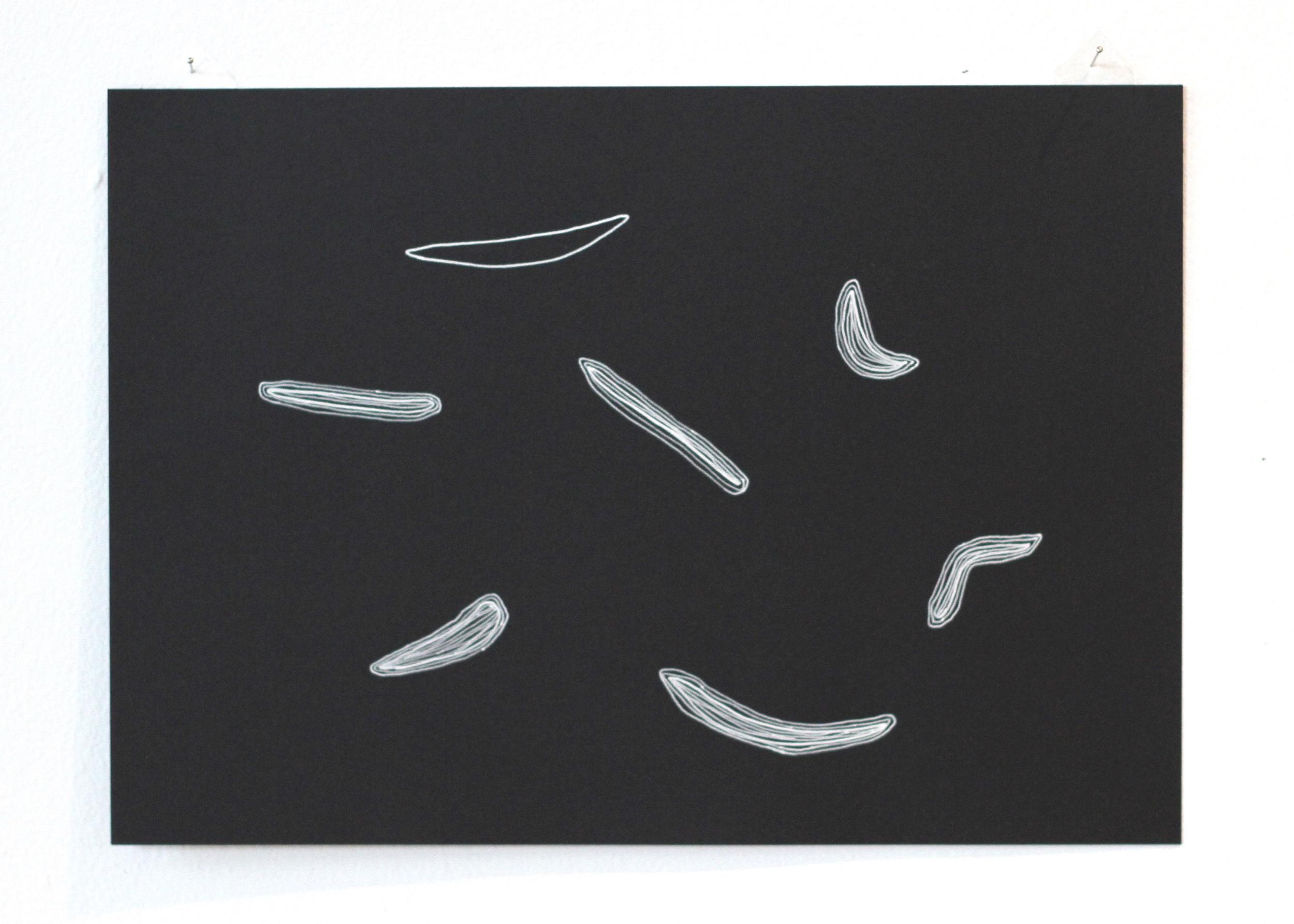 Ān fenjān hāye chāi ke bā ham nanooshidim / Those cups of tea we didn't share 1, Léuli Eshraghi, ink on card, 21 x 29.5cm, 2014