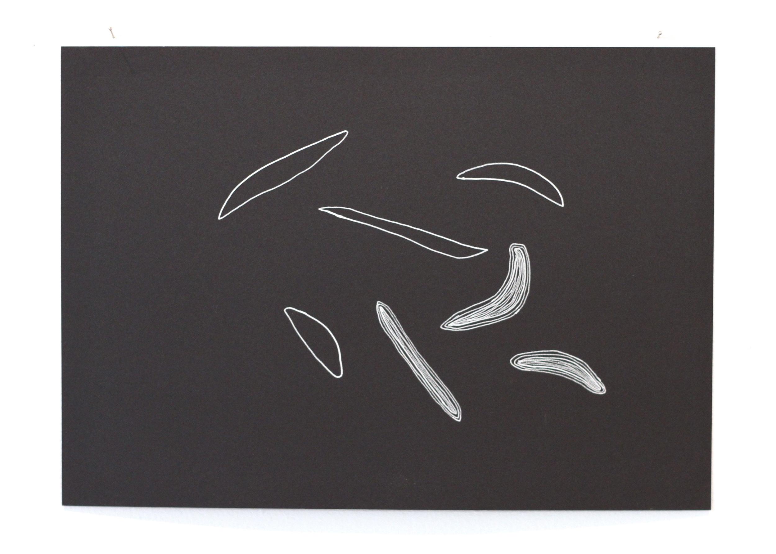 Ān fenjān hāye chāi ke bā ham nanooshidim / Those cups of tea we didn't share 3, Léuli Eshraghi, ink on card, 21 x 29.5cm, 2014