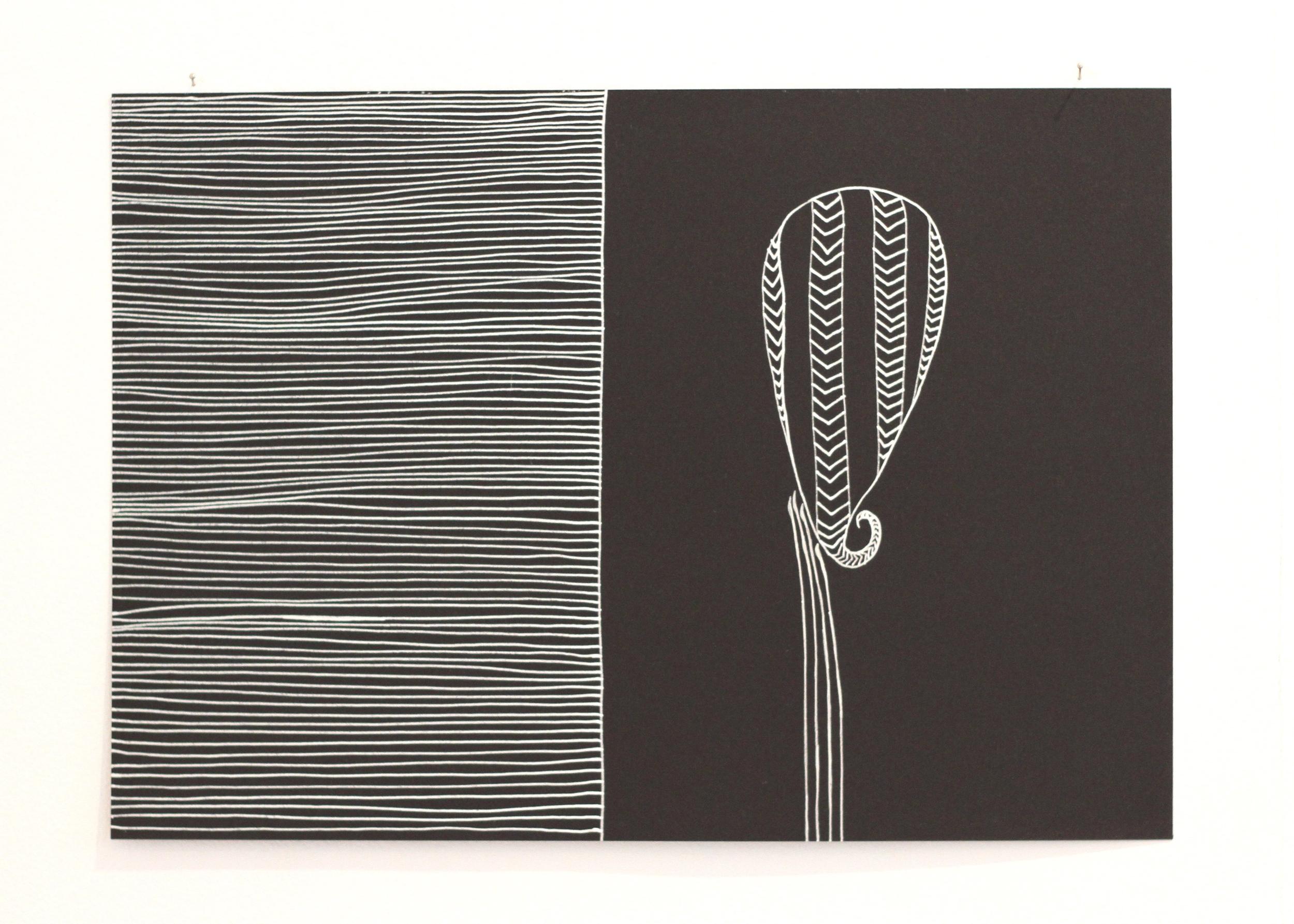 Āitu lāitiiti / Small spirit, Léuli Eshraghi, ink on card, 21 x 29.5cm, 2014