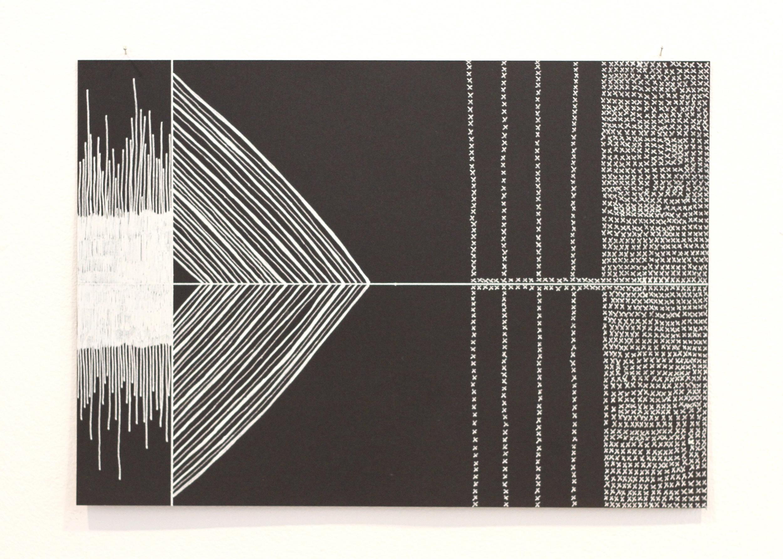 Siting you i le lalolagi / heavens 1, Léuli Eshraghi, ink on card, 21 x 29.5cm, 2014
