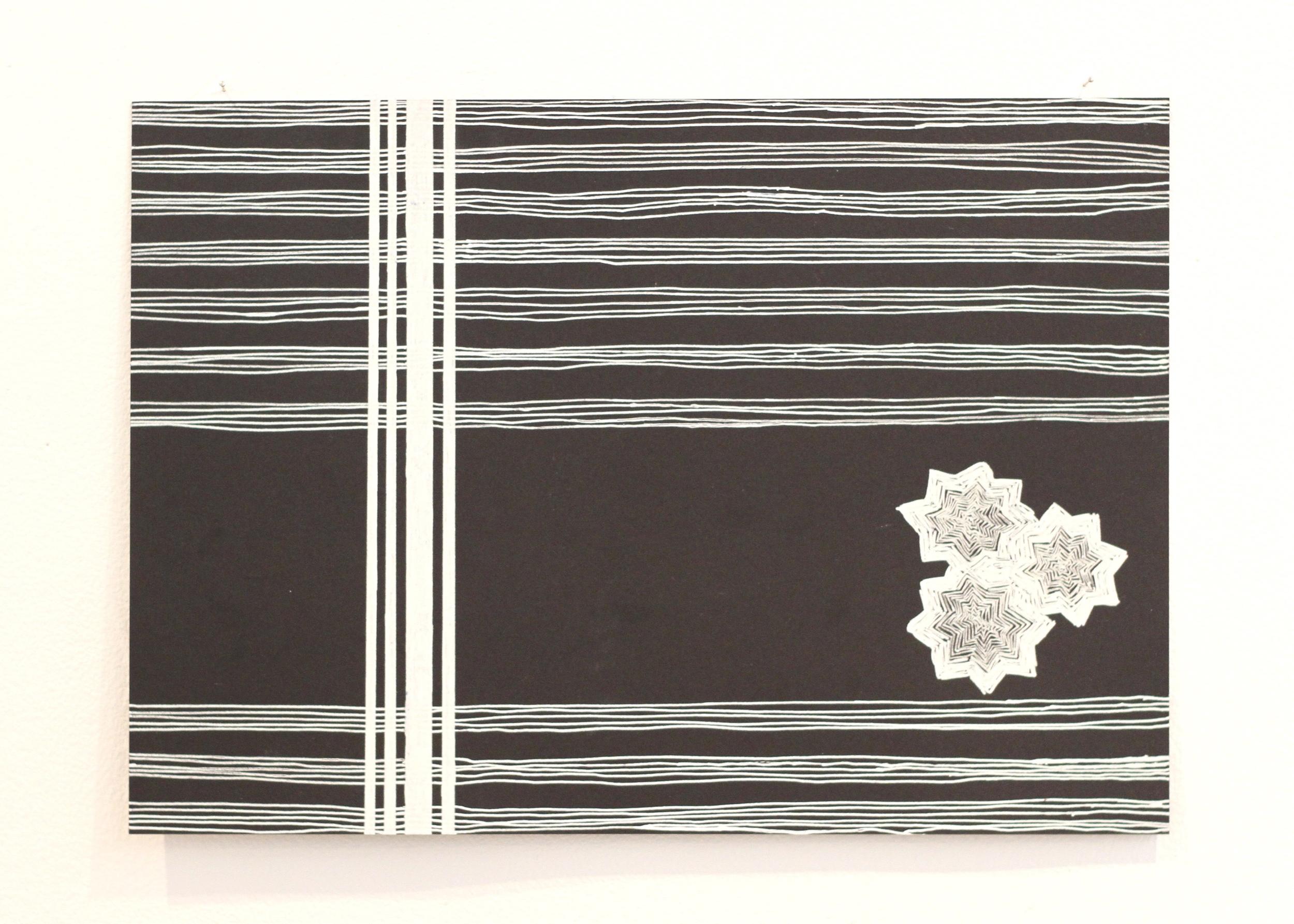 Siting you i le lalolagi / heavens 2, Léuli Eshraghi, ink on card, 21 x 29.5cm, 2014
