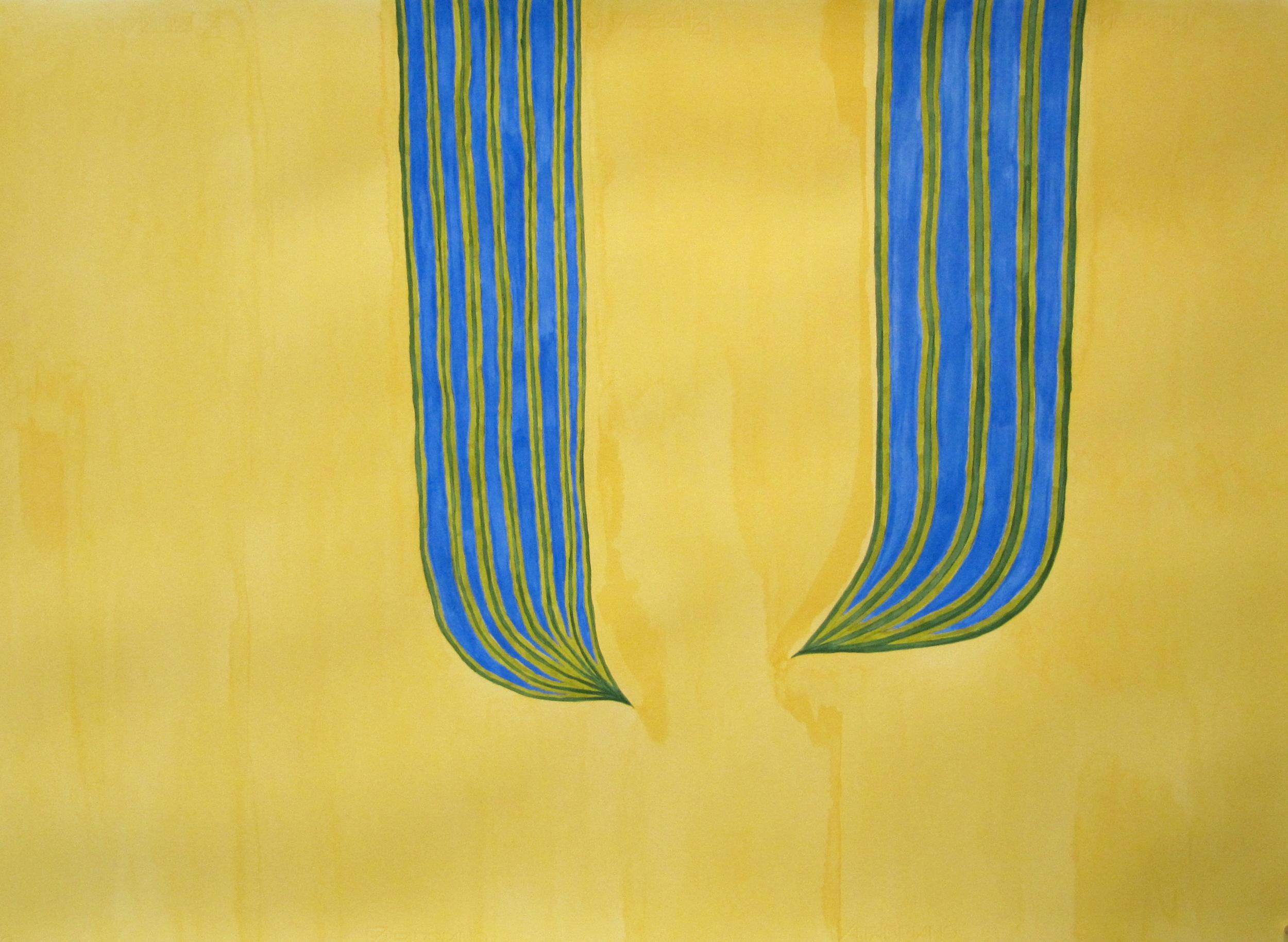 'O loimata 'o Apaula i papa uta | Apaula's tears up high, Léuli Eshraghi, acrylic on Fabriano paper 100 x 71cm, 2012
