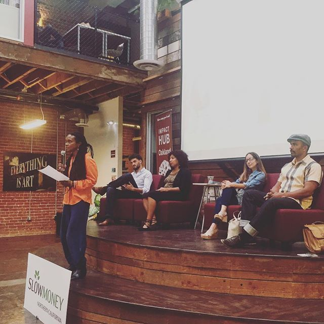 Great people and a great panel. Talking crowd-funding and new investing rules for #entrepreneurs with Nina Robinson, @keba88, Locavesting and @wefunder, tonight at @impacthuboak.