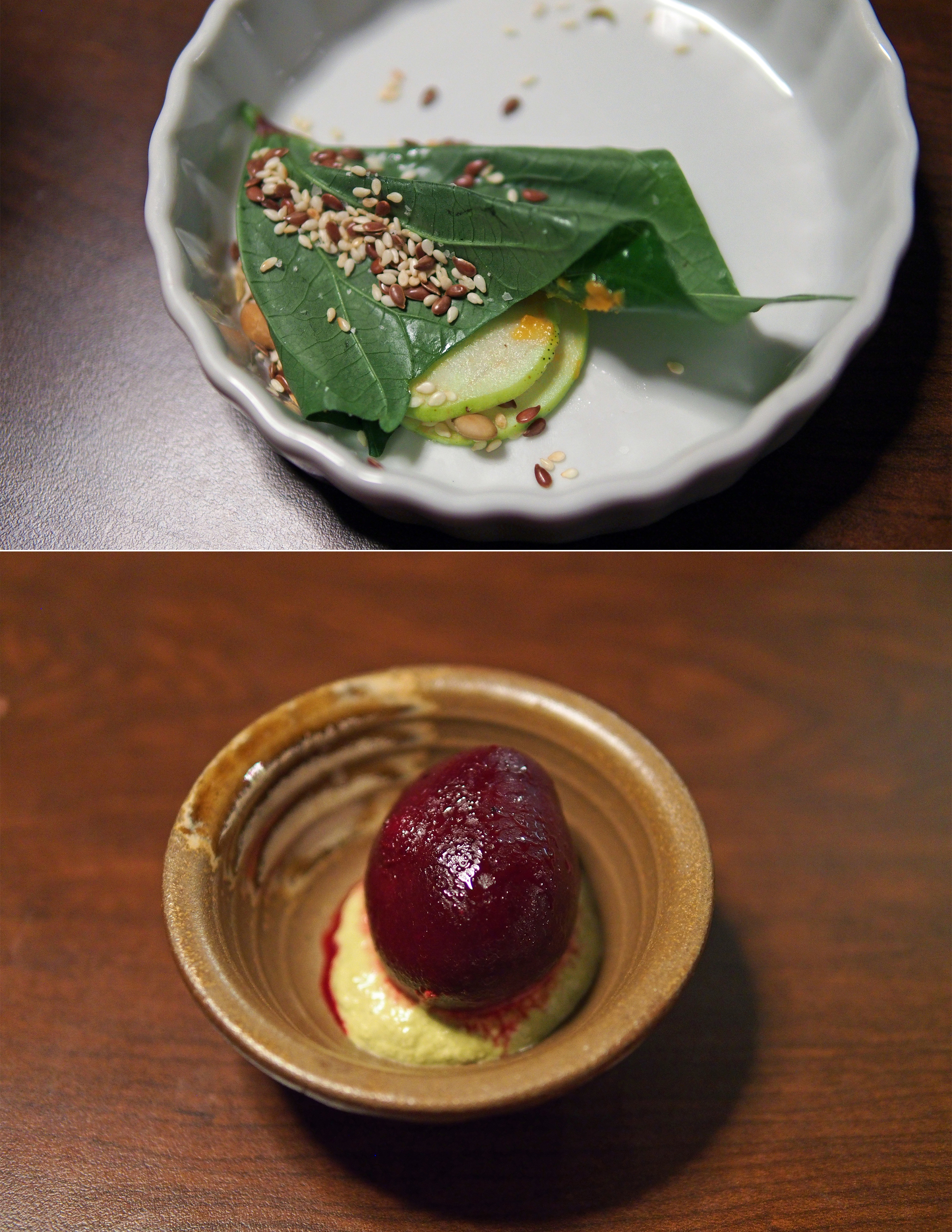 Top: Sweet potato leaf with apples  Bottom: Roasted beet over fermented ramps