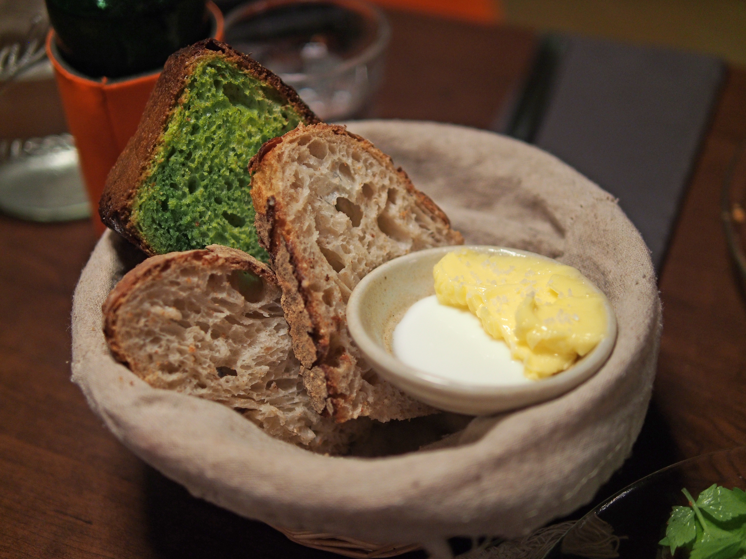 Stinging nettle brioche and buttermilk