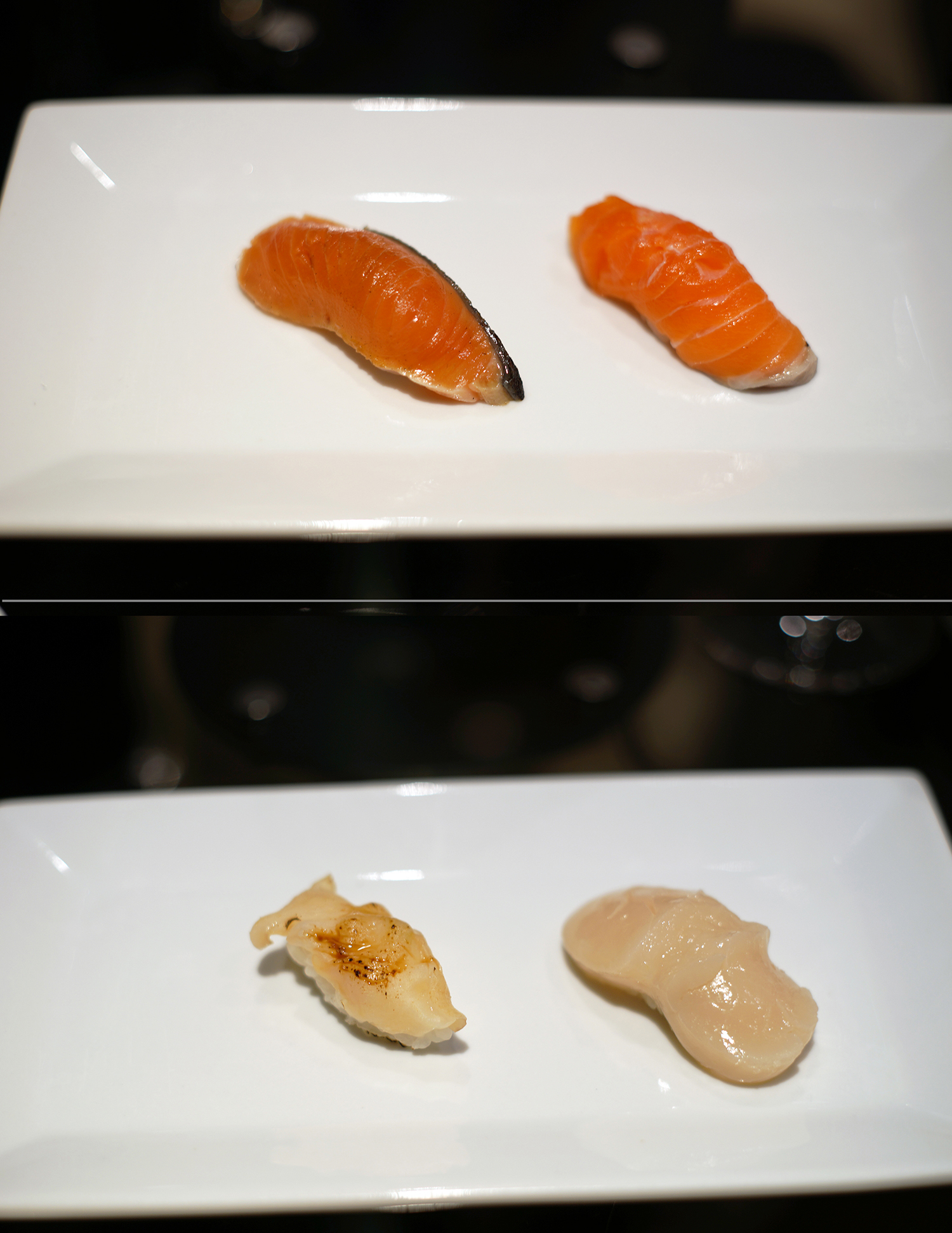 Top: Chum Salmon - smoked with hay - Hokkaido, Ivory King Salmon - sudachi and sea salt - Alaska  Bottom: Clam - Washington; Scallop with Yuzu pepper - Hokkaido