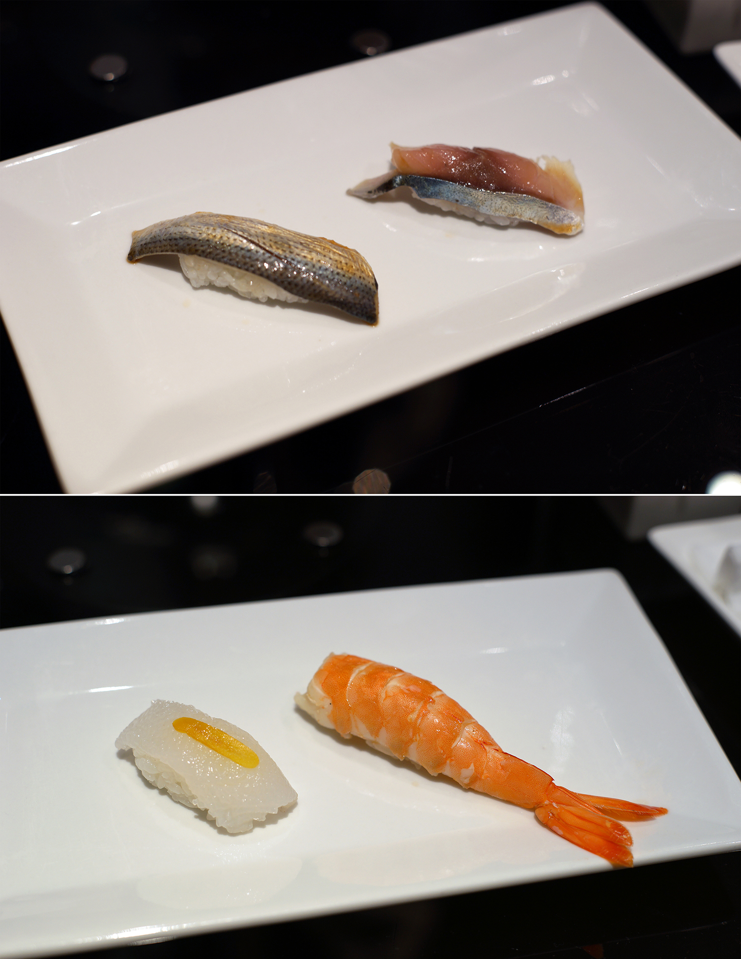 Top: Aji and 7 day aged aji with mustard  Bottom: Blue shrimp from New Caledonia