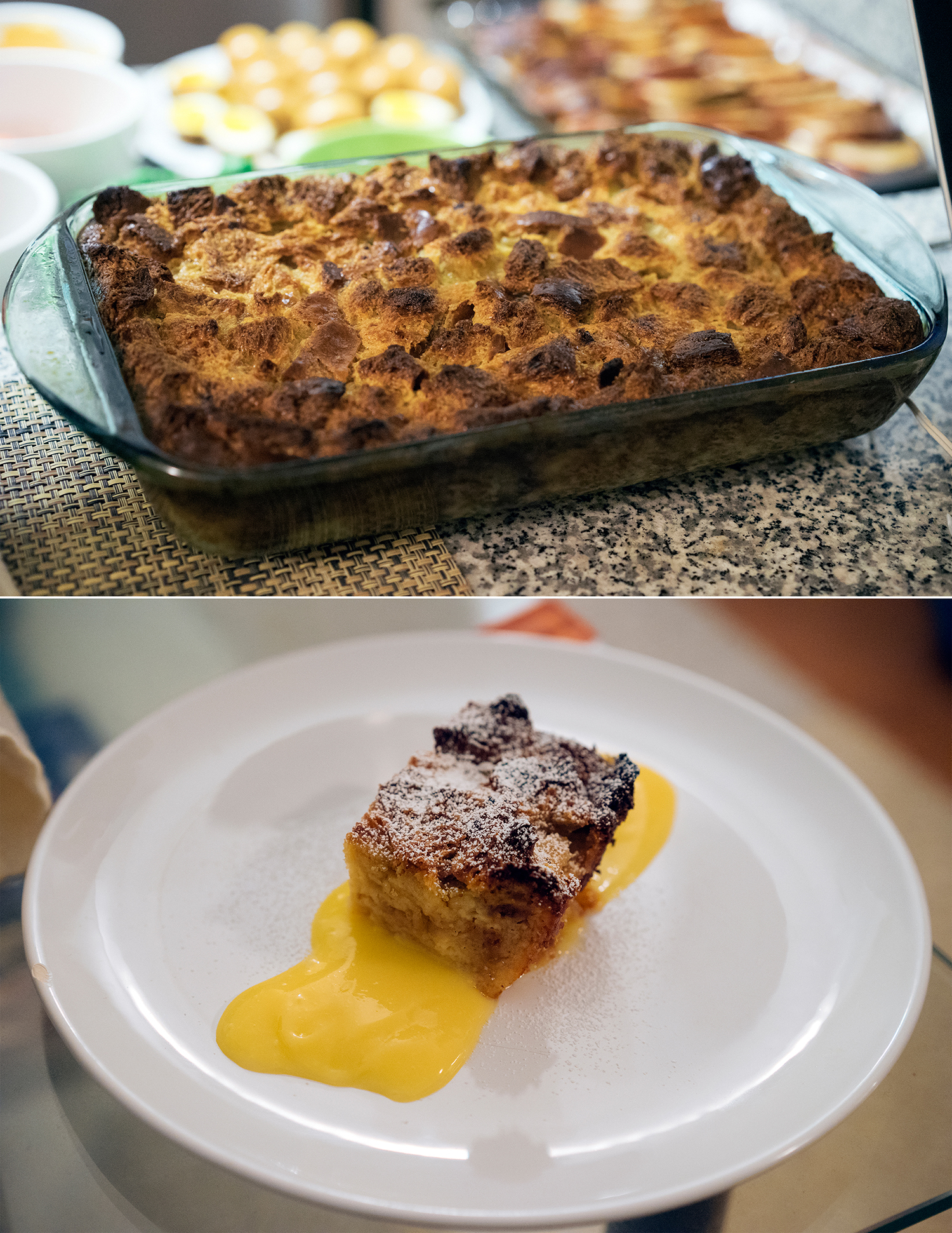 Amazing bread and butter pudding with lemon curd