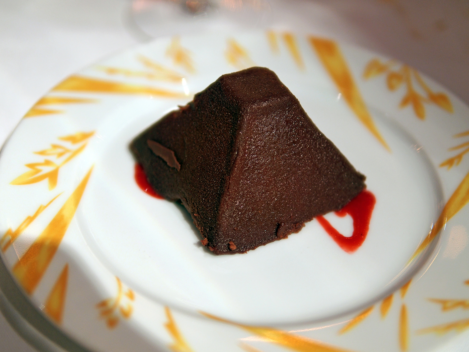 Chocolate Pyramid (bittersweet chocolate mousse with a raspberry filling)